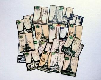 "25 Eiffel Tower Stickers, 1.5"" x 2"" (38x51mm), Vintage Ephemera Stickers, Postcard stickers, Travel stickers, Eco Recycled Paris stickers"