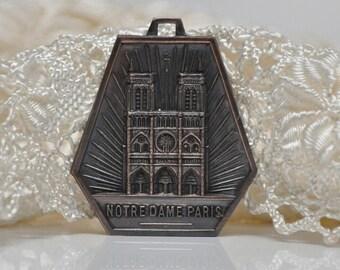 Vintage Art-Deco Cathedral de Notre Dame Paris French Art Medal Religious Pendant