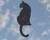 "Cat Silhouette warns birds away from window 4"" x 11"" static cling"
