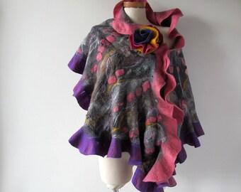 Nuno Felted scarf, Ruffle Felt scarf,  warm wool shawl, Grey pink stole , plus size shawl  Folk women felt shawl by Galafilc