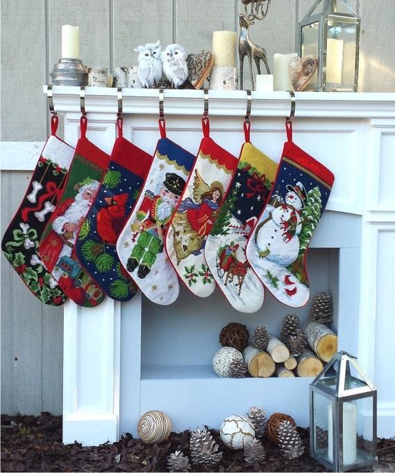 Needlepoint Christmas Stockings Personalized Santa Nutcracker