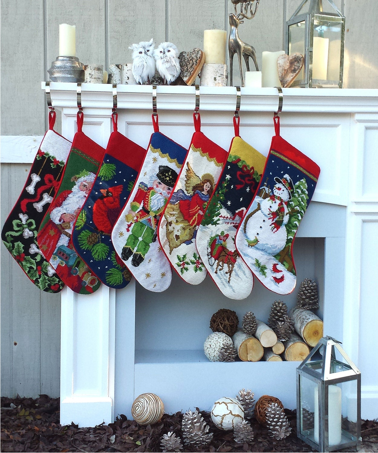 Needlepoint Christmas Stockings Personalized Santa Nutcracker
