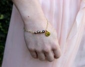 Bridesmaids Crystal Bracelet Initial Charm---CUSTOM---Silver or Gold