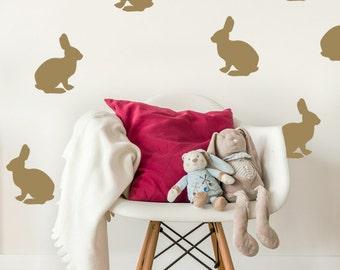Bunny Wall Decal, Rabbit Wall Decal, Bunny Wall Art, Nursery Wall Decal, Nursery Wall Decor, Childrens Wall Art, Easter Decor, Animal Decal