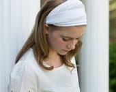 Pretied Headwrap White Extra Wide Headscarf Shabby Hair Band White Modest Head Wrap Alopecia Headband (#2612) S M L X XW
