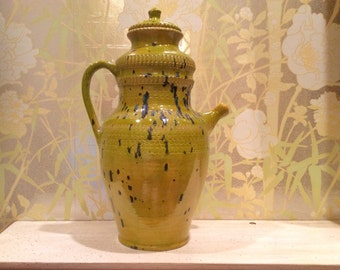 Pichet à eau en céramique Vintage avec émail vert moucheté bleu