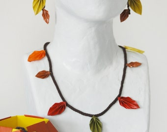 Autumn leaves - necklace, bracelet and earrings