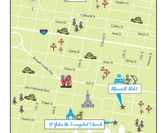 Custom 5x7 Wedding Map Save the Date - Philadelphia, PA