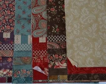 FRENCH Fabric Mille Couleurs 40 piece sample set shabby quilt fabric Moda 3 Sisters Color palette crimson red brown purple mauve applique