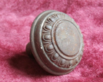 Rusty Ornate Metal Door Knob Single for Crafting or Creating