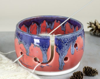 Beautiful Knitting Yarn Bowl, Red Coral with blue silver highlights 3 EXTRA Holes Yarn holder multiple yarn balls. IN STOCK