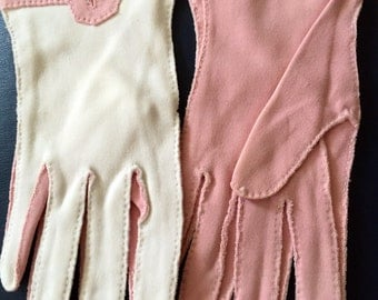 Vintage 1950s Rare Pink & White Colorblock Gloves by Shalimar - xs