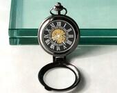 Steampunk Mechanical Pocket Watch Chain Handmade BLACK Case dial SILVER Roman Numerals Unique Vintage Wedding Best Man Groomsmen Men's Gift