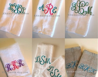Three Initials SET OF 2 Monogrammed Hand Towels - Choose your font style - Monogram Initials Towels