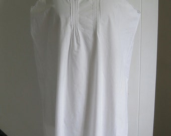 Large antique French pure white cotton chemise, nightie, night shirt, smock, dress, excellent condition, festival, boho chic