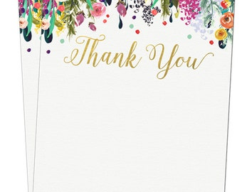 Watercolor Thank you Cards - Baby Shower Thank you - Digital File