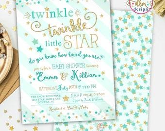 twinkle twinkle little star baby shower invitation twinkle twinkle shower invite printable invitation