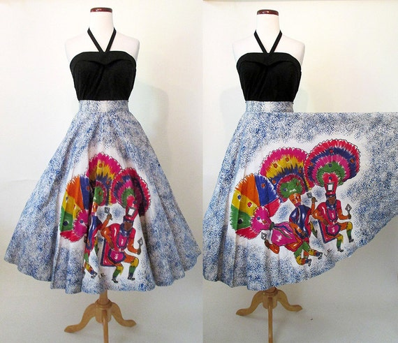 CLEARANCE Killer 1950's Hand Painted Mexican Circle Skirt w/ Traditional Dancers Hand Signed Rockabilly Vintage Western VLV Mexi Size Small