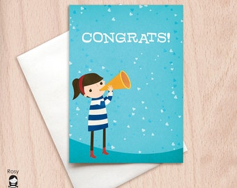Congrats - Confetti - Girl with a Horn - Congratulations Greeting Card