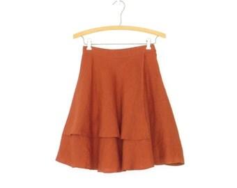 70s Mini Skirt * Vintage Linen Skirt * 1970s Flared Skirt * Rust Red * XXS