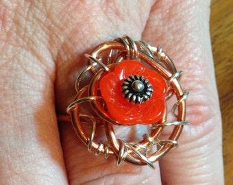 Sunset Flower Ring size 7
