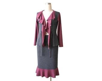 SALE Ruffled jacket, Long sleeve jersey jacket, Grey jacket, Womens clothing, Wrap top, US 12-14, Size Large, Wrap jacket