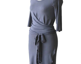 SALE Wrap Dress, Grey dress, Womens clothing