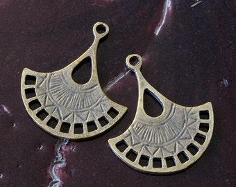 Mykonos Beads - Brass Fan Earring Parts - 21x31mm - Jewelry Making Supply - Boho Jewelry Findings And Parts - Choose Amounts