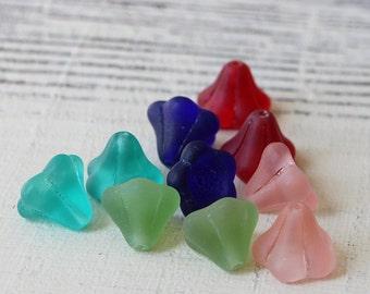 Glass  Bell Flower Beads - Jewelry Making Supplies - Czech Glass Beads - 11mm Trumpet Flower - 5 Colors - 4 Beads Each