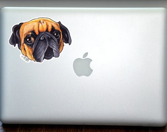 Little Adorable Pug Full Color Art Decal Apple Macbook Laptop