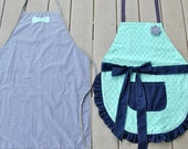 His and Hers Apron Set, Navy and Mint Apron Set