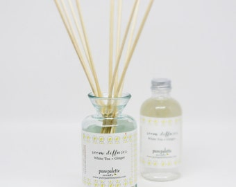 White Tea & Ginger Diffuser Oil Refill, Recycle and Handmade Vase Options Floral Fragrance for Home with Natural Undyed Reeds