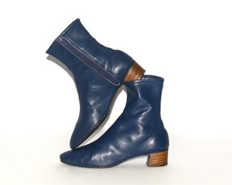 BATTANI Vintage Ankle Boots Navy Leather Booties 7-7.5