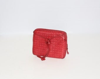 Vintage BOTTEGA VENETA Small Fuschia Intrecciato Leather Crossbody Tote -AUTHENTIC-
