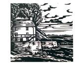 Dylan Thomas Boathouse -Original linoprint