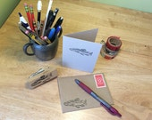 Brown trout note card. Trout art correspondence card. Stationery for trout fisherman.