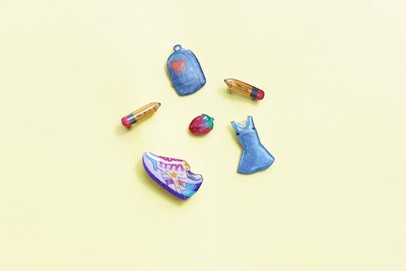 Super Cute Glittery Hand Drawn Shrink Plastic Brooches - Group E