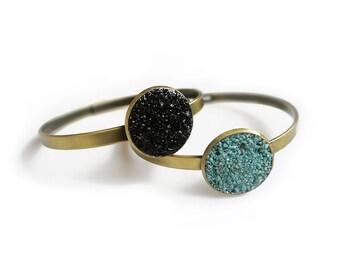 Black Tourmaline Bracelet, Boho Bangle Bracelet, Gemstone Cuff Bracelet