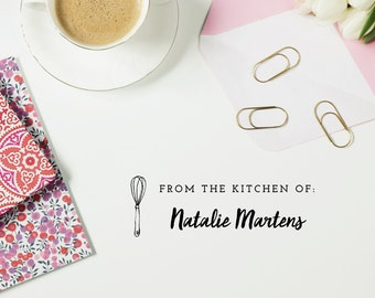 From the Kitchen of, Kitchen Stamp - Style #01, Wood Mounted or Self-Inking Rubber Stamp, Hostess Gift, Gift for Mom, Personalized Gift