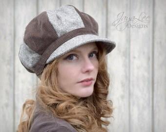 Newsboy Hat / Brown Corduroy and Tweed Patchwork