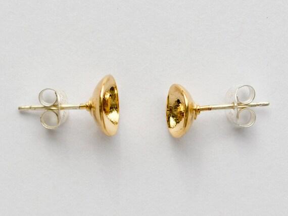 Gold Stud Earrings - Simple Hemisphere Studs - Domed Second Hole or Cartilage Circle Earring - Everyday Moon Earings