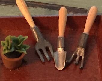 Miniature Gardening Tools, Metal Tools, Wood Handles, 3 Piece Set, Dollhouse Miniatures, Dollhouse, Fairy Garden, Mini Garden Accessory