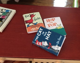 Miniature Children's Books, Dr Seuss, Set of 3, Cat in the Hat, Fox in Socks, Hop on Pop, Dollhouse 1:12 Scale Miniatures, Accessory