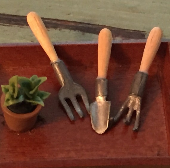 Miniature Gardening Tools, Metal Tools, Wood Handles, 3 Piece Set, Dollhouse Miniatures, Dollhouse, Fairy Garden, Mini Garden Accessory