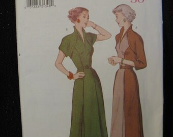 Retro Butterick '50 Pattern 6523, High Neckline Dress, Sizes 12  14 and 16,  UC FF