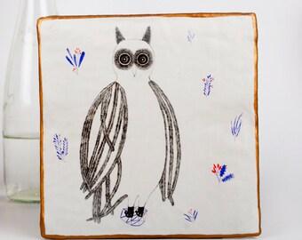 Original Owl Illustration, Ornament, Pencil Drawing, Air Dry Clay, Ceramic Wall Art, Geometric Mixed Media, Decoration,貓頭鷹, Kunst, Sculpture