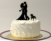 BULLDOG + BRIDE + GROOM Cake Topper Silhouette Bull Dog PitBull English Bulldog American Bulldog Wedding Cake Topper with Pet Family of 3