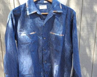 Vintage 50s Blue Fleck Shirt - Rockabilly - Rock N Roll