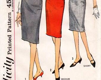 1960s Slim Wiggle Skirt Pattern - Vintage Simplicity 4529 - Waist 25