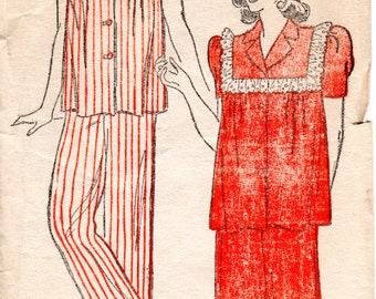1940s Two Piece Pajamas - Vintage Pattern New York 134 - Size 12 FF